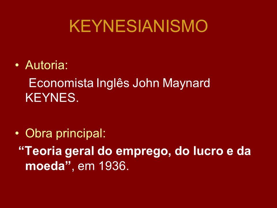 KEYNESIANISMO Autoria: Economista Inglês John Maynard KEYNES.