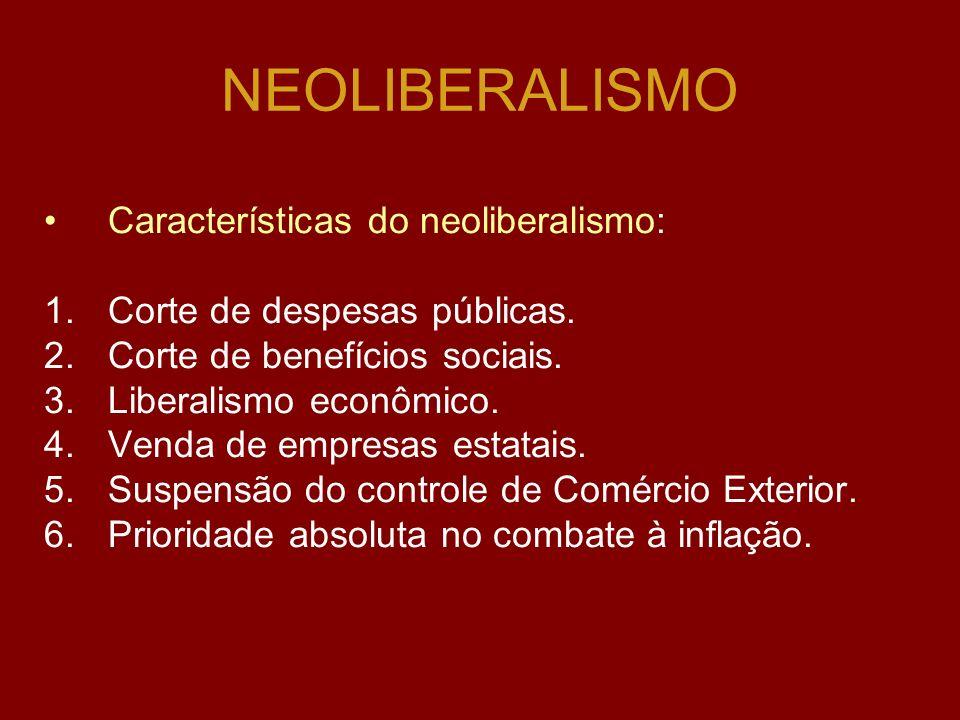 NEOLIBERALISMO Características do neoliberalismo: