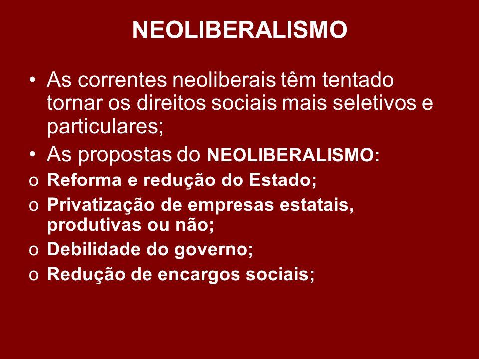 NEOLIBERALISMO As correntes neoliberais têm tentado tornar os direitos sociais mais seletivos e particulares;