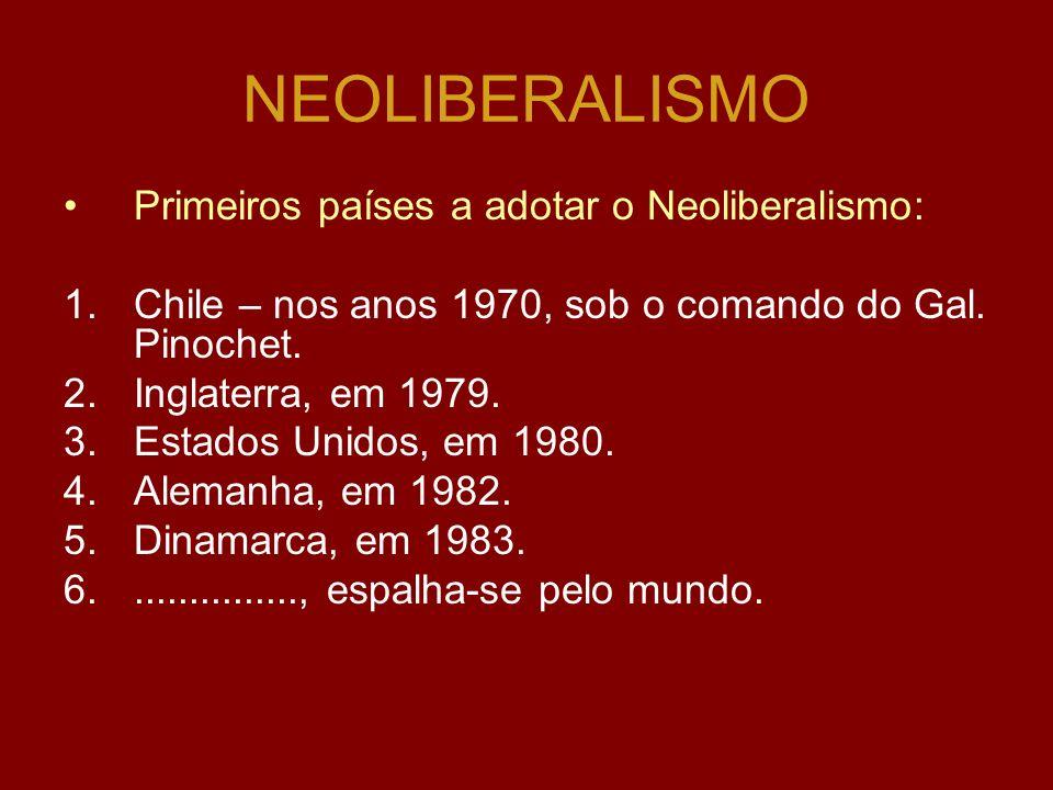NEOLIBERALISMO Primeiros países a adotar o Neoliberalismo: