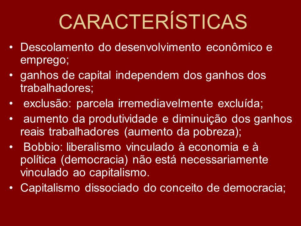 CARACTERÍSTICAS Descolamento do desenvolvimento econômico e emprego;