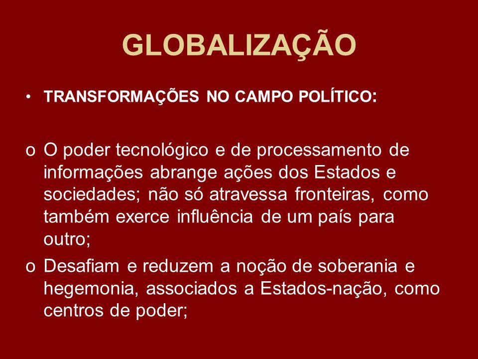 GLOBALIZAÇÃO TRANSFORMAÇÕES NO CAMPO POLÍTICO: