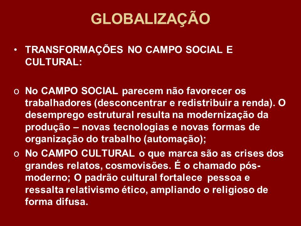GLOBALIZAÇÃO TRANSFORMAÇÕES NO CAMPO SOCIAL E CULTURAL: