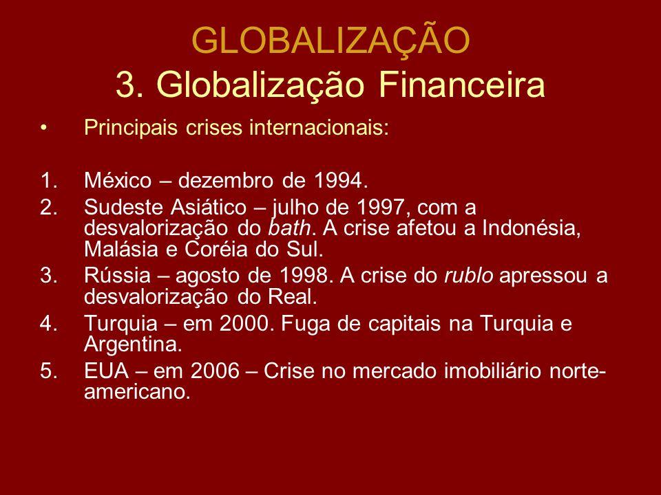 GLOBALIZAÇÃO 3. Globalização Financeira