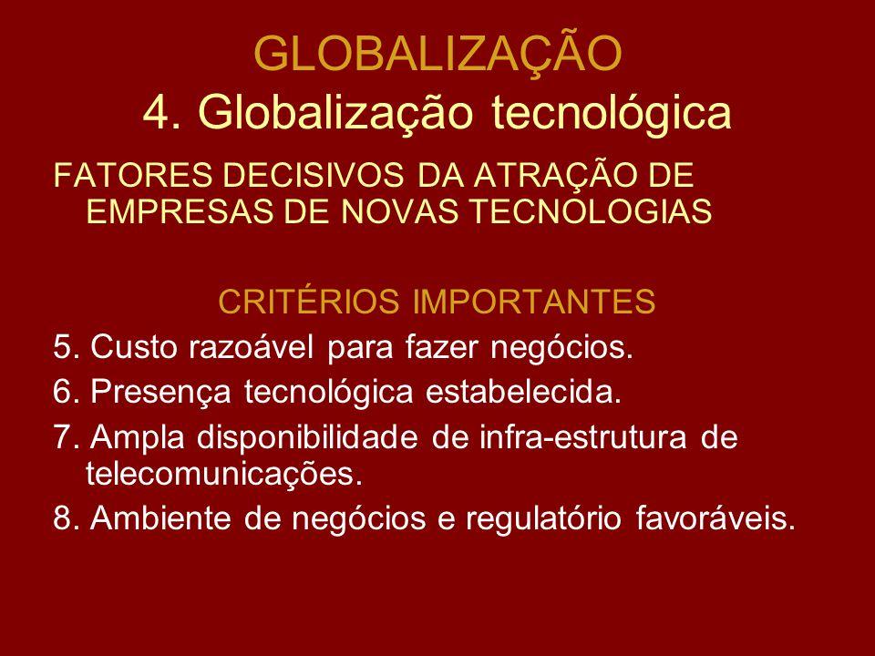 GLOBALIZAÇÃO 4. Globalização tecnológica