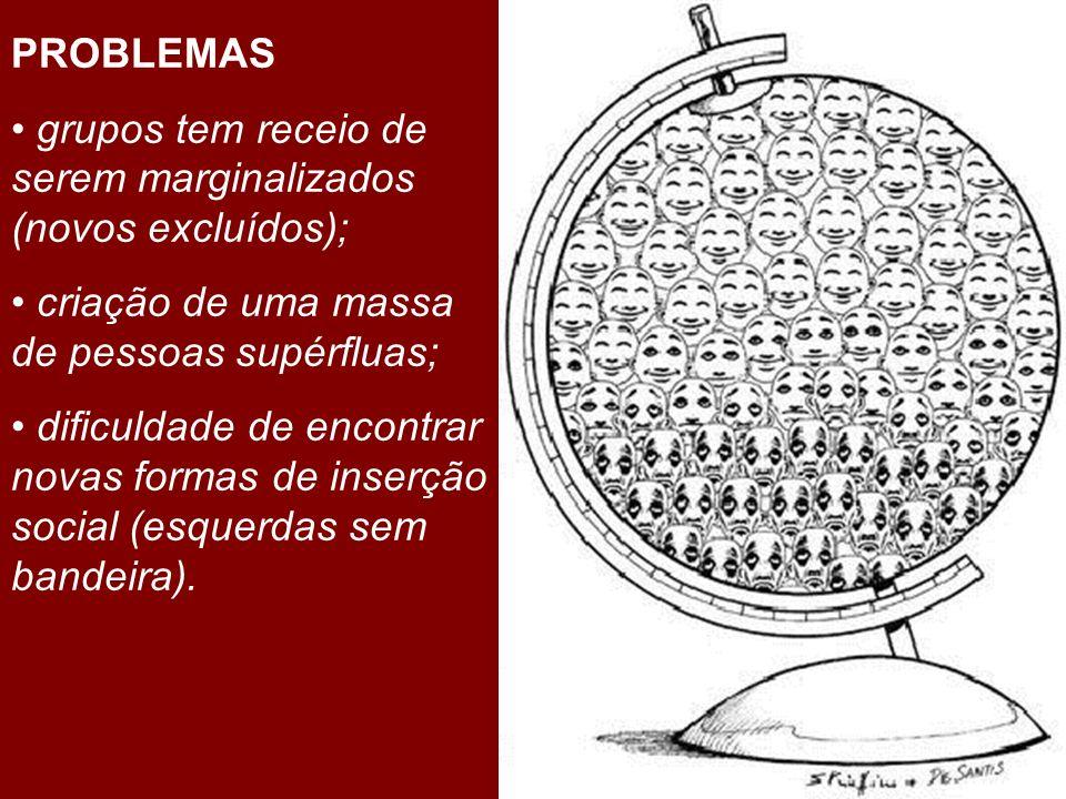 PROBLEMASgrupos tem receio de serem marginalizados (novos excluídos); criação de uma massa de pessoas supérfluas;