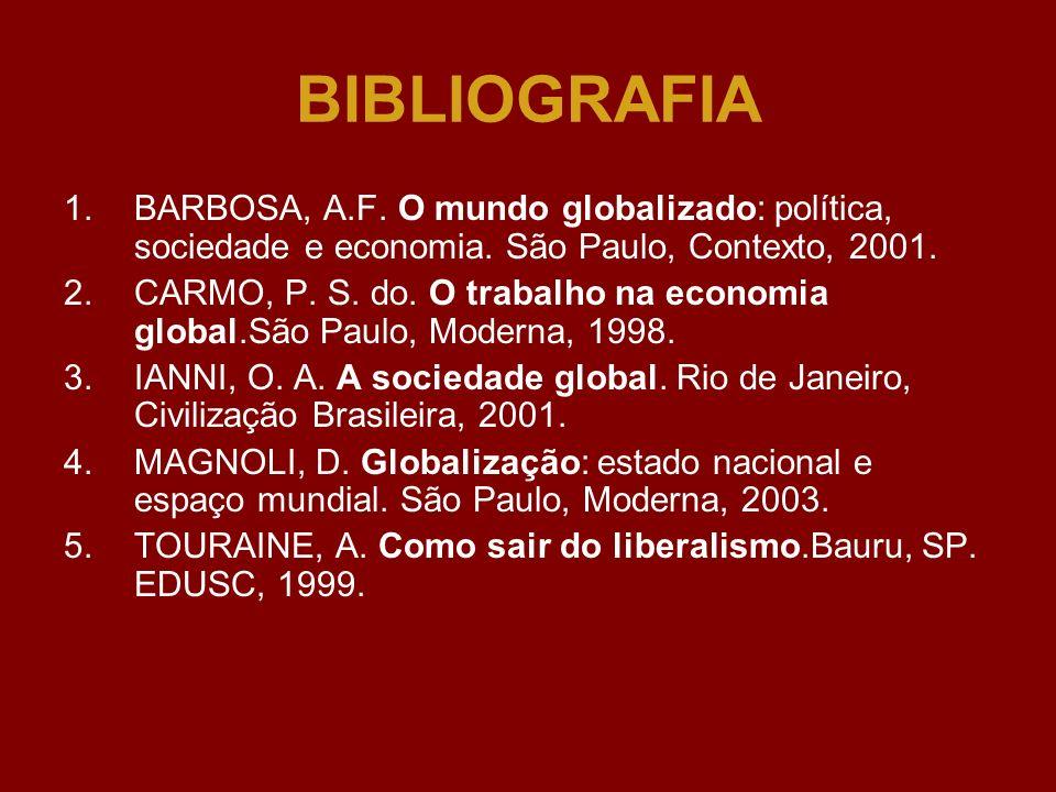 BIBLIOGRAFIABARBOSA, A.F. O mundo globalizado: política, sociedade e economia. São Paulo, Contexto, 2001.