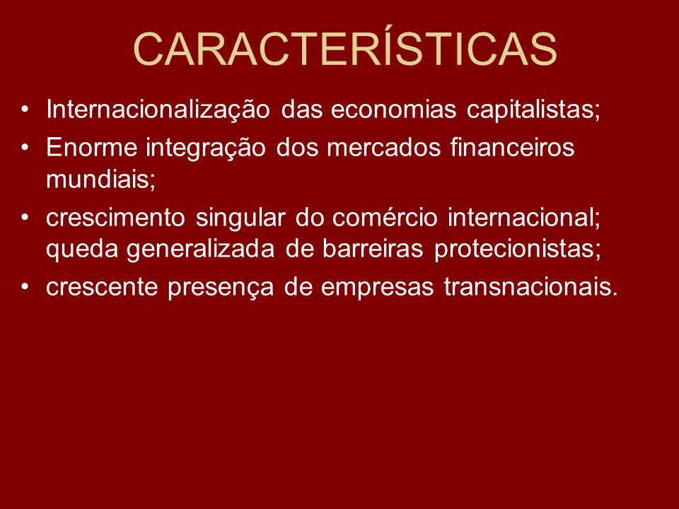 CARACTERÍSTICAS Internacionalização das economias capitalistas;