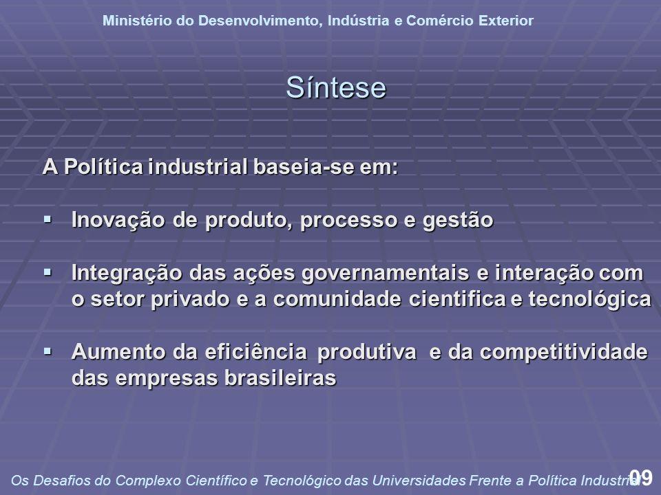 Síntese A Política industrial baseia-se em: