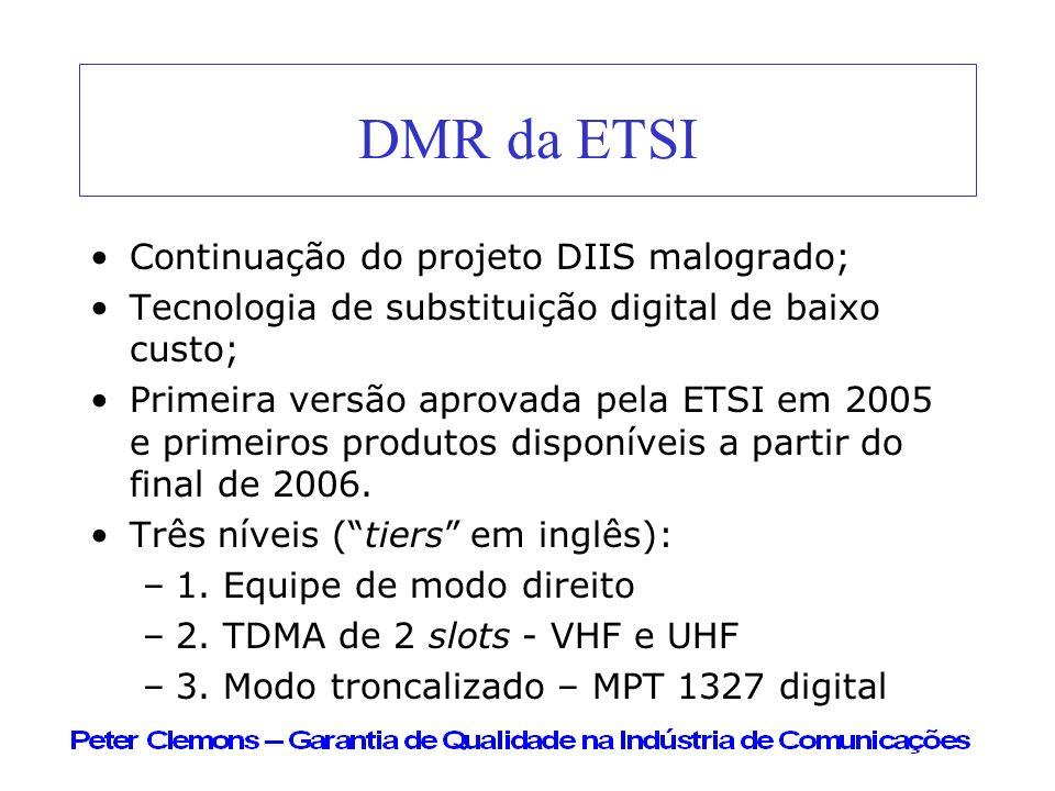 DMR da ETSI Continuação do projeto DIIS malogrado;