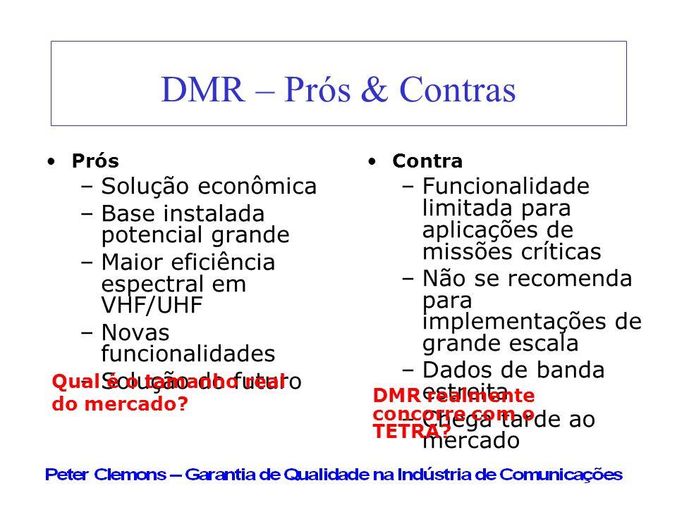DMR – Prós & Contras Solução econômica Base instalada potencial grande