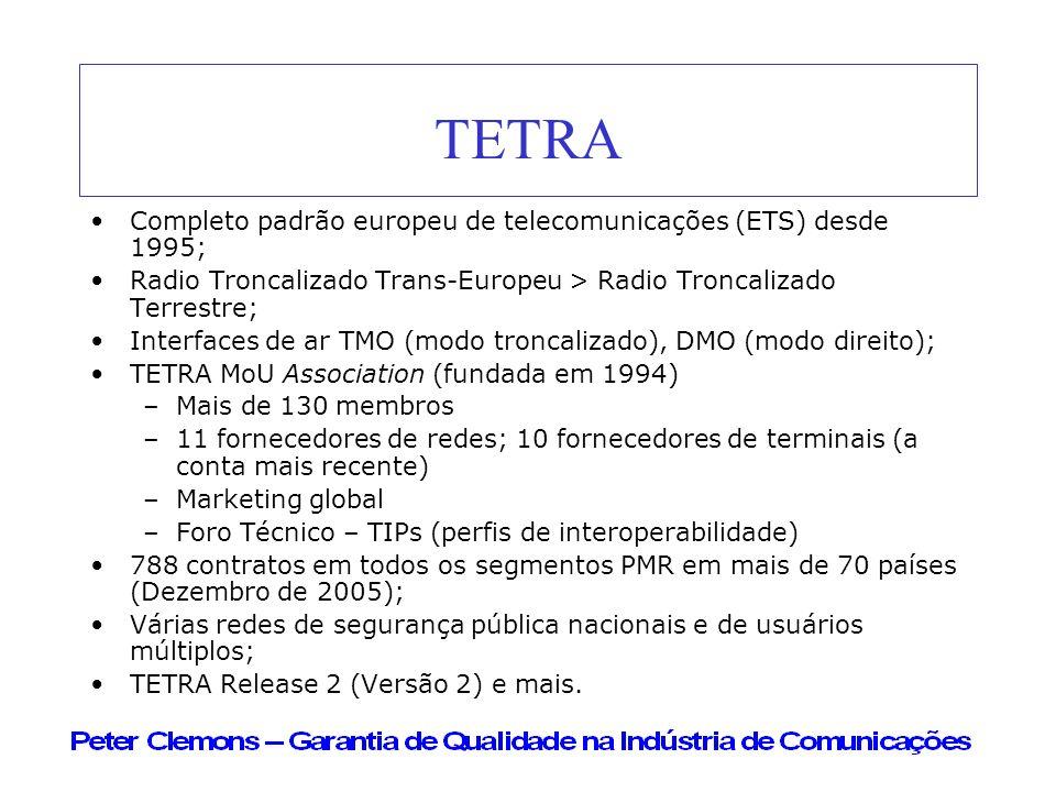 TETRA Completo padrão europeu de telecomunicações (ETS) desde 1995;