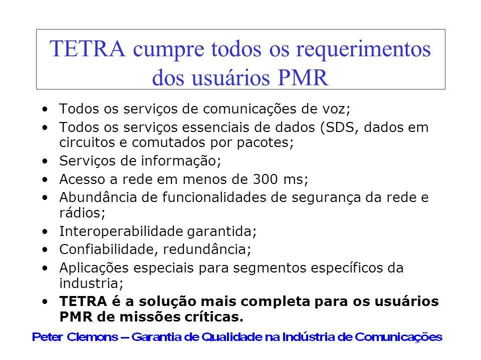 TETRA cumpre todos os requerimentos dos usuários PMR