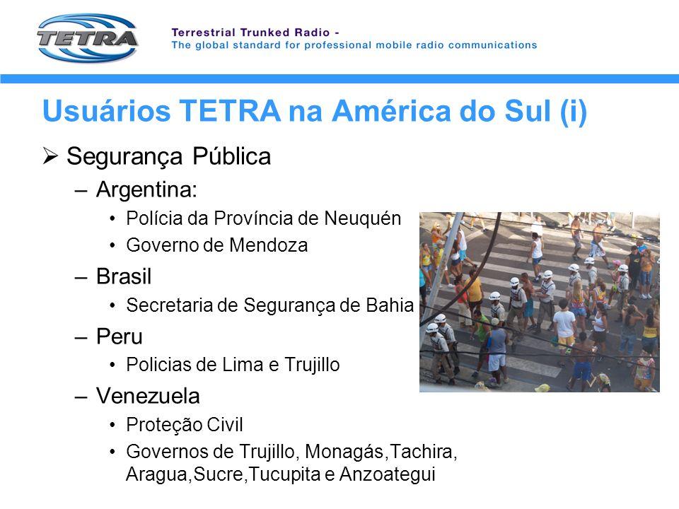 Usuários TETRA na América do Sul (i)