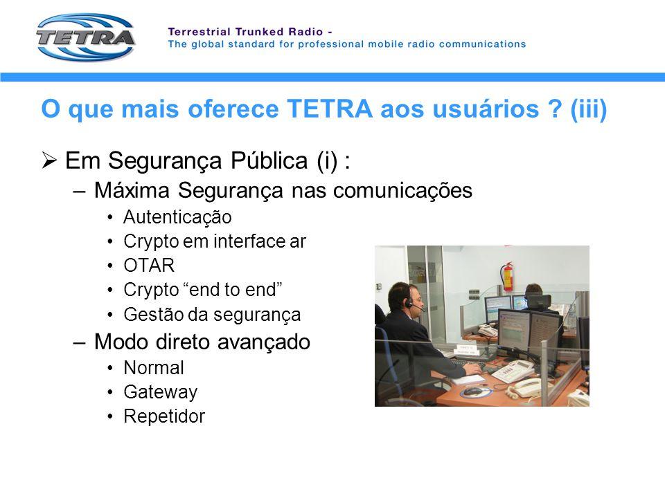 O que mais oferece TETRA aos usuários (iii)