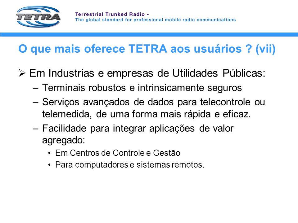 O que mais oferece TETRA aos usuários (vii)
