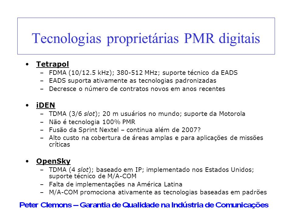 Tecnologias proprietárias PMR digitais