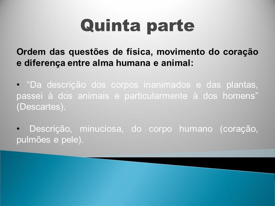 Quinta parte Ordem das questões de física, movimento do coração e diferença entre alma humana e animal: