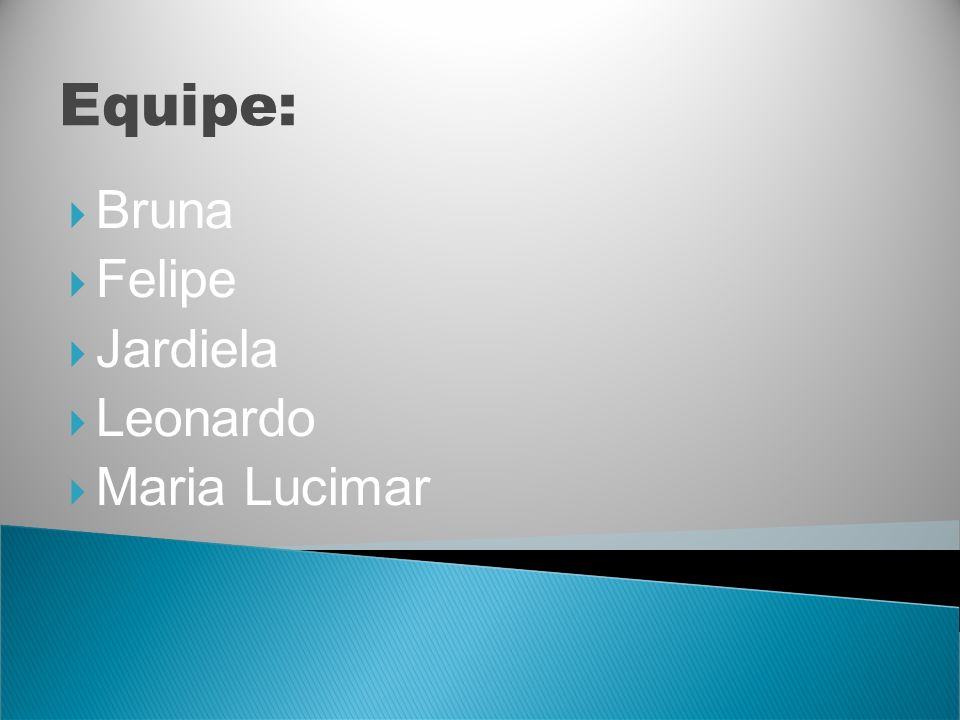 Equipe: Bruna Felipe Jardiela Leonardo Maria Lucimar