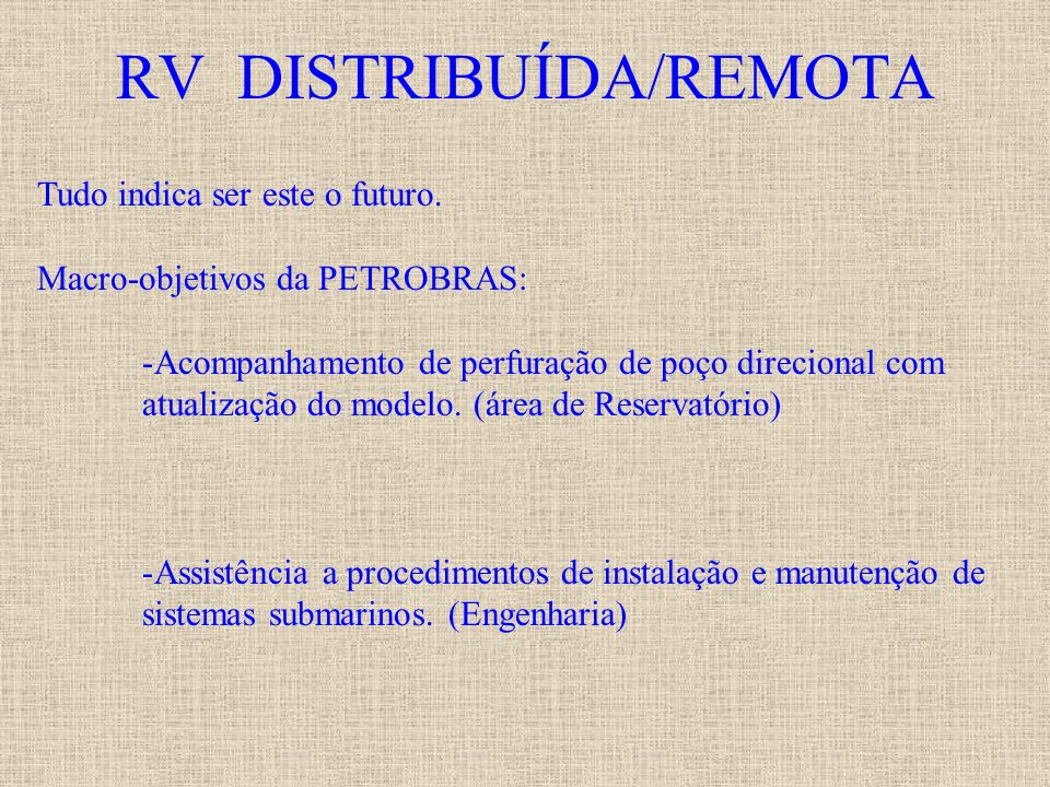 RV DISTRIBUÍDA/REMOTA