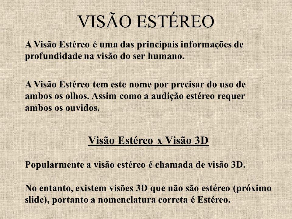 VISÃO ESTÉREO Visão Estéreo x Visão 3D