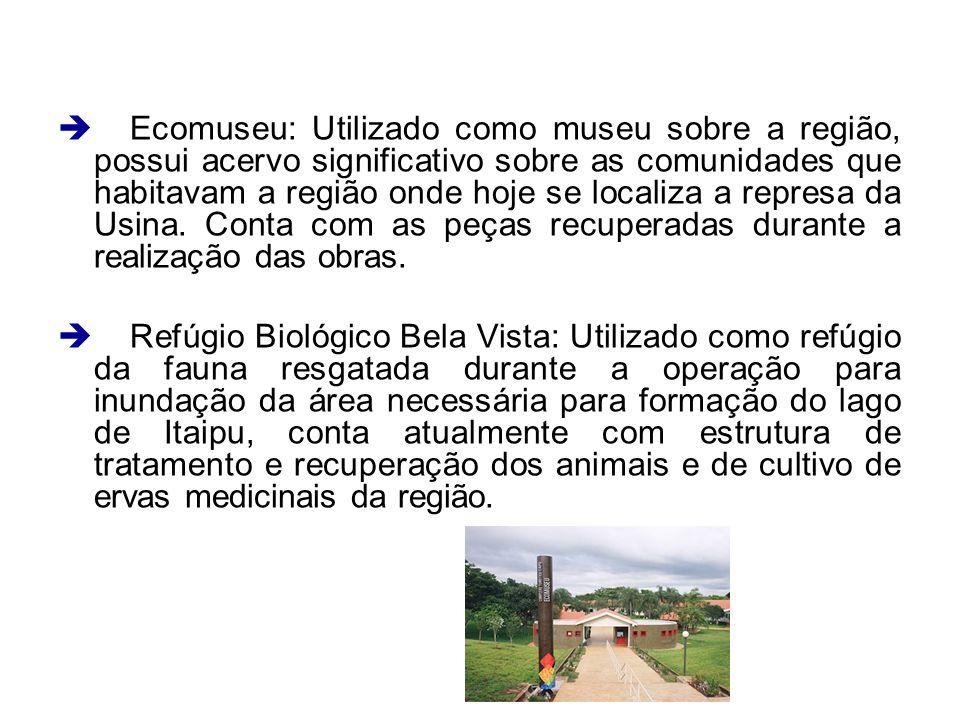 Ecomuseu: Utilizado como museu sobre a região, possui acervo significativo sobre as comunidades que habitavam a região onde hoje se localiza a represa da Usina. Conta com as peças recuperadas durante a realização das obras.