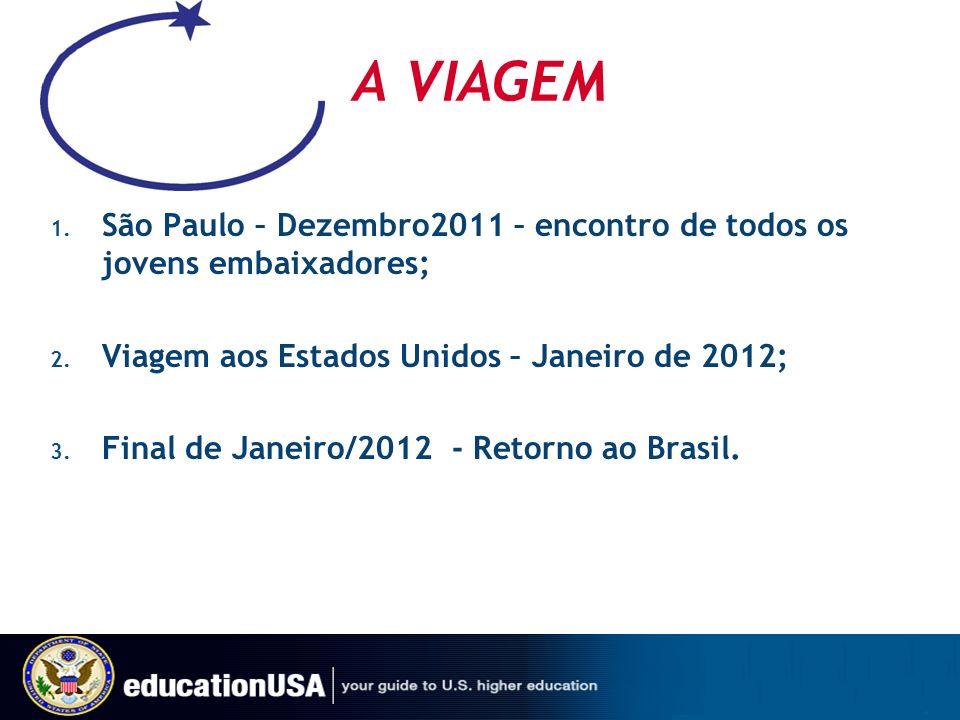 A VIAGEM São Paulo – Dezembro2011 – encontro de todos os jovens embaixadores; Viagem aos Estados Unidos – Janeiro de 2012;
