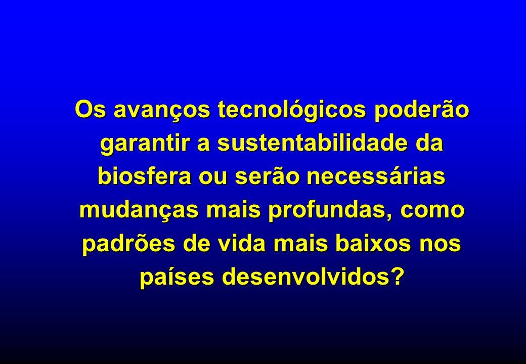 Os avanços tecnológicos poderão garantir a sustentabilidade da biosfera ou serão necessárias mudanças mais profundas, como padrões de vida mais baixos nos países desenvolvidos