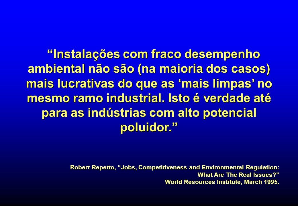 Instalações com fraco desempenho ambiental não são (na maioria dos casos) mais lucrativas do que as 'mais limpas' no mesmo ramo industrial. Isto é verdade até para as indústrias com alto potencial poluidor.