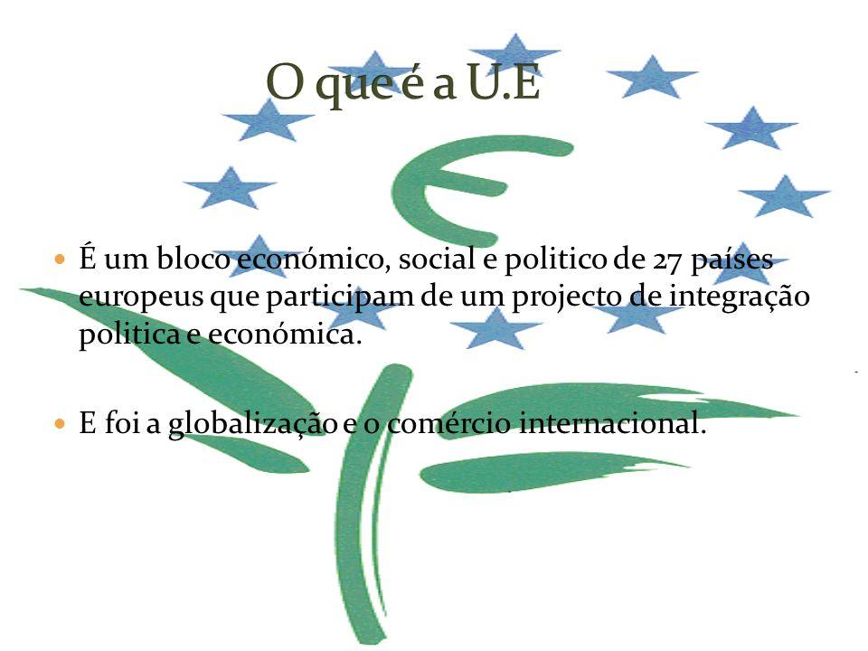 O que é a U.E É um bloco económico, social e politico de 27 países europeus que participam de um projecto de integração politica e económica.
