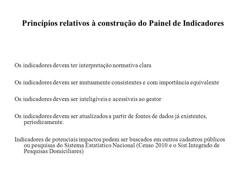 Princípios relativos à construção do Painel de Indicadores