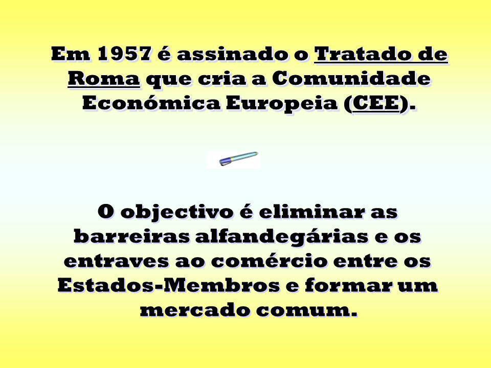 Em 1957 é assinado o Tratado de Roma que cria a Comunidade Económica Europeia (CEE).