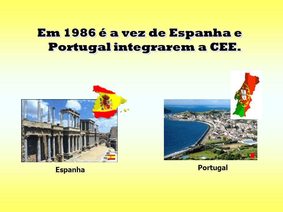 Em 1986 é a vez de Espanha e Portugal integrarem a CEE.