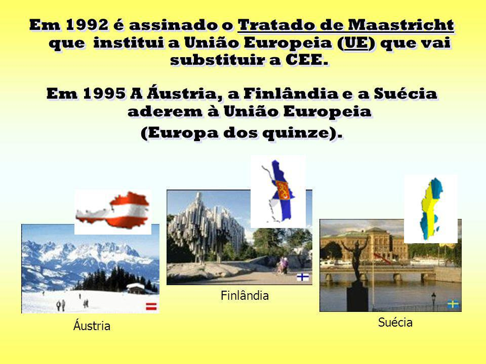 Em 1995 A Áustria, a Finlândia e a Suécia aderem à União Europeia