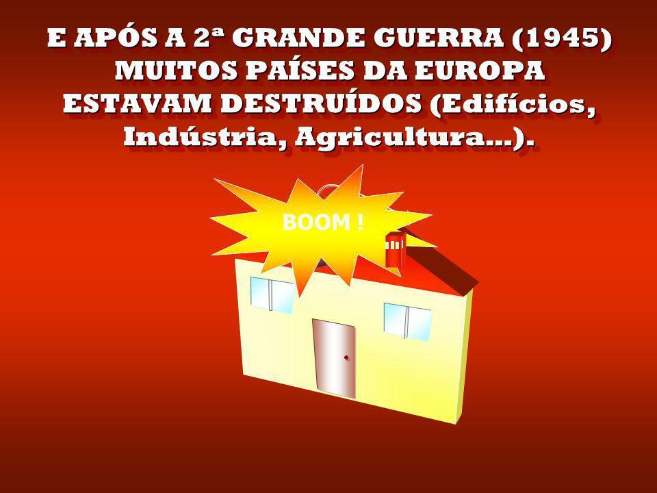 E APÓS A 2ª GRANDE GUERRA (1945) MUITOS PAÍSES DA EUROPA ESTAVAM DESTRUÍDOS (Edifícios, Indústria, Agricultura…).