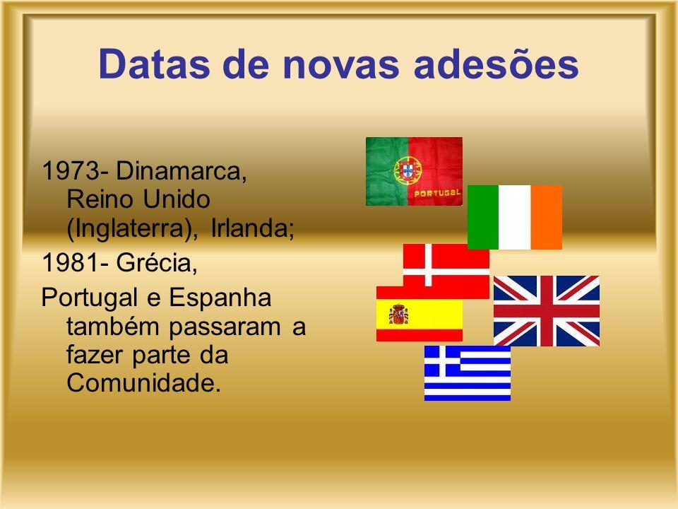Datas de novas adesões 1973- Dinamarca, Reino Unido (Inglaterra), Irlanda; 1981- Grécia,