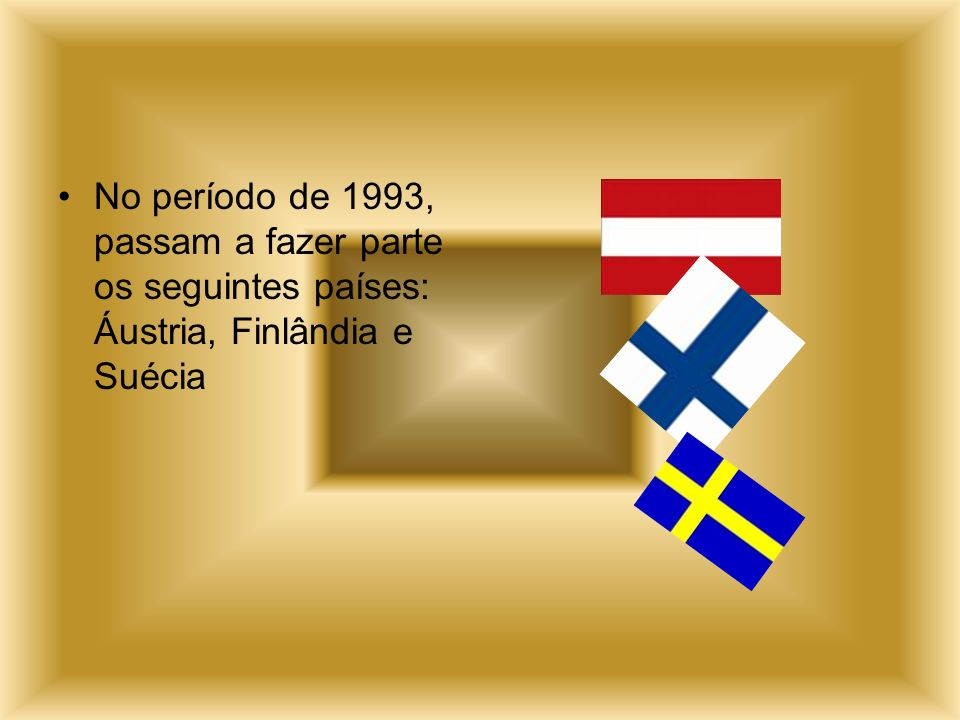 No período de 1993, passam a fazer parte os seguintes países: Áustria, Finlândia e Suécia