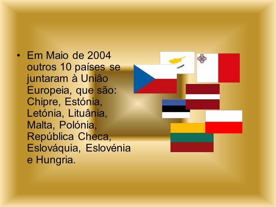 Em Maio de 2004 outros 10 países se juntaram à União Europeia, que são: Chipre, Estónia, Letónia, Lituânia, Malta, Polónia, República Checa, Eslováquia, Eslovénia e Hungria.