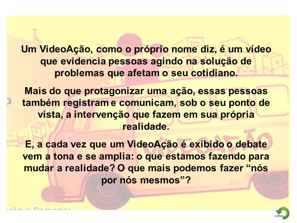 Um VideoAção, como o próprio nome diz, é um vídeo que evidencia pessoas agindo na solução de problemas que afetam o seu cotidiano.
