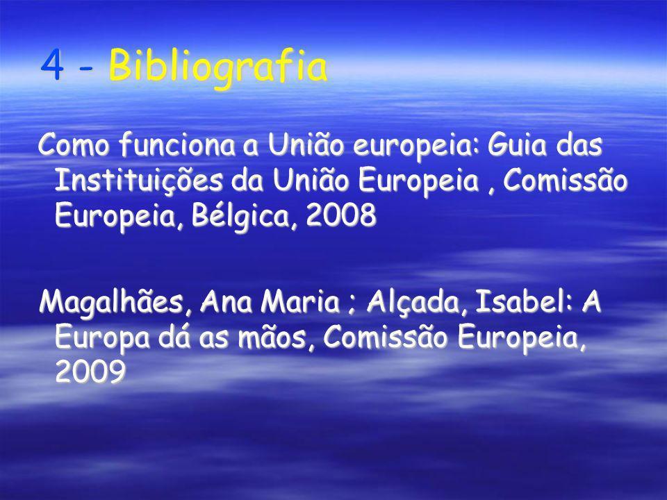 4 - BibliografiaComo funciona a União europeia: Guia das Instituições da União Europeia , Comissão Europeia, Bélgica, 2008.