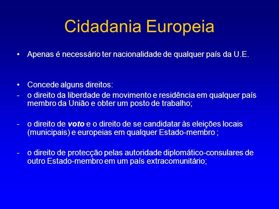Cidadania Europeia Apenas é necessário ter nacionalidade de qualquer país da U.E. Concede alguns direitos: