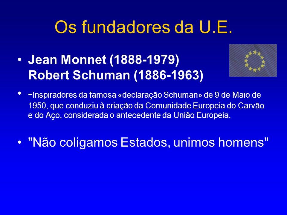 Os fundadores da U.E. Jean Monnet (1888-1979) Robert Schuman (1886-1963)