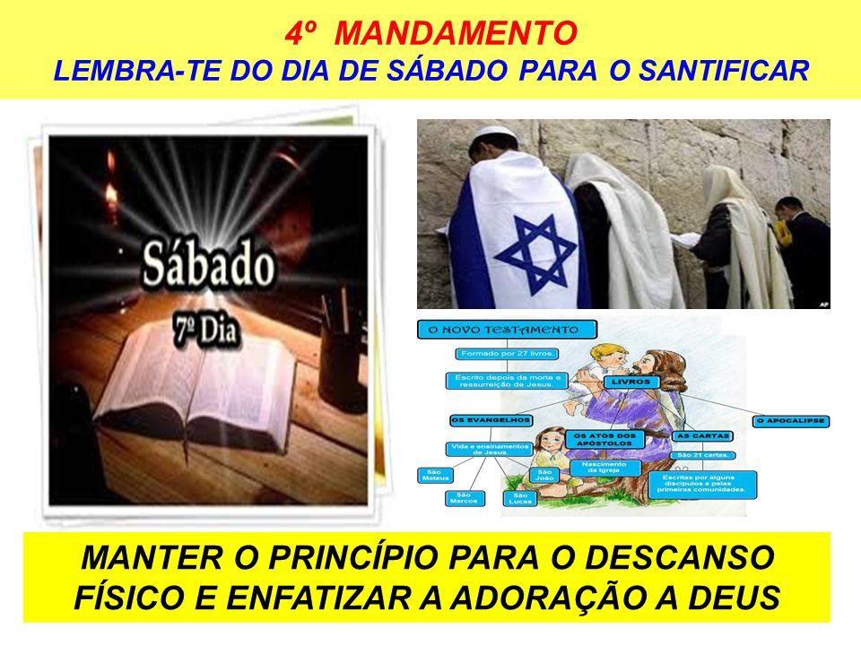 4º MANDAMENTO LEMBRA-TE DO DIA DE SÁBADO PARA O SANTIFICAR