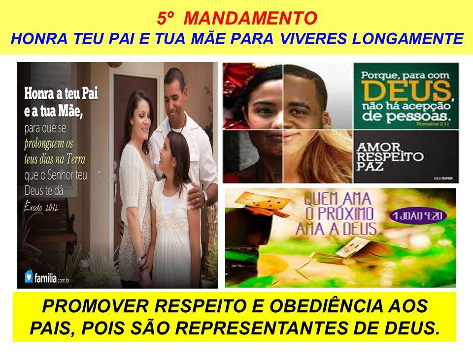 5º MANDAMENTO HONRA TEU PAI E TUA MÃE PARA VIVERES LONGAMENTE