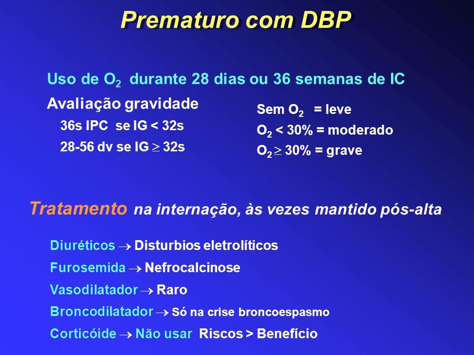 Prematuro com DBP Tratamento na internação, às vezes mantido pós-alta