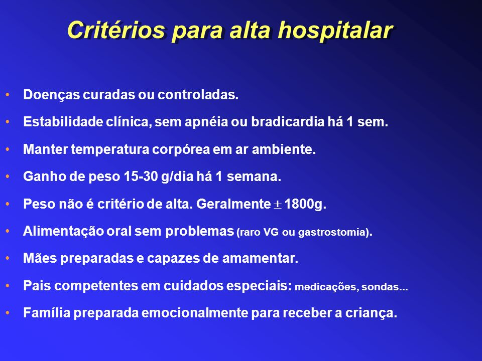 Critérios para alta hospitalar