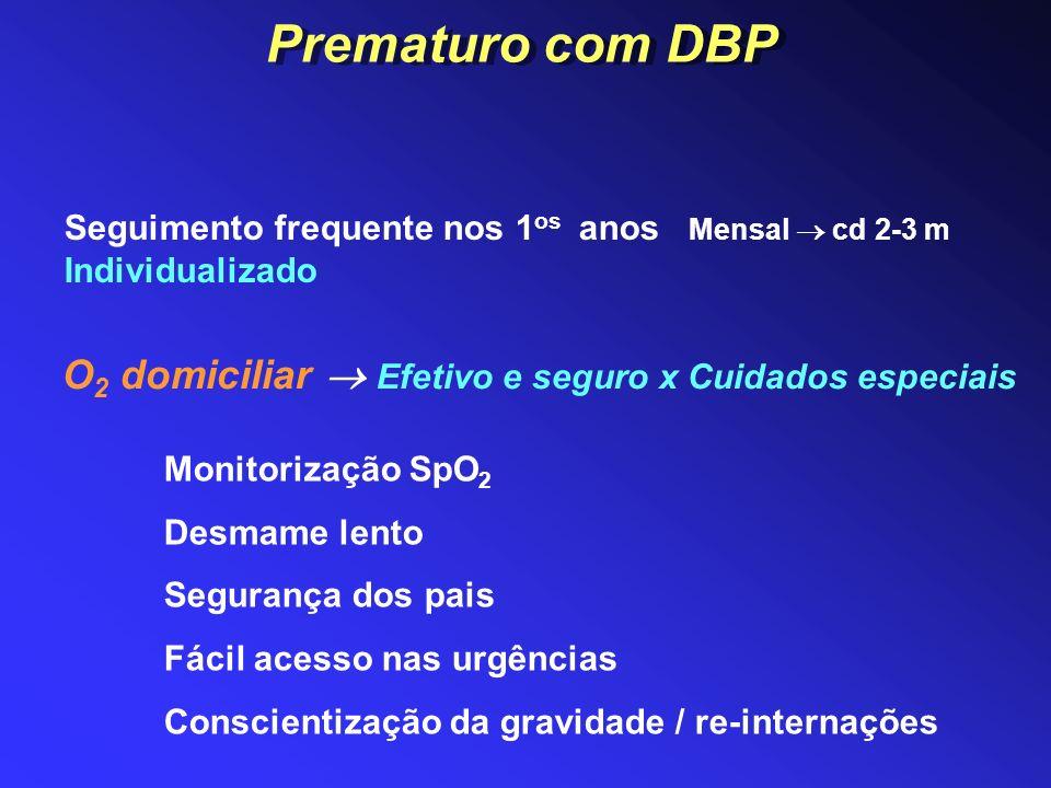 Prematuro com DBP Seguimento frequente nos 1os anos Mensal  cd 2-3 m Individualizado. O2 domiciliar  Efetivo e seguro x Cuidados especiais.