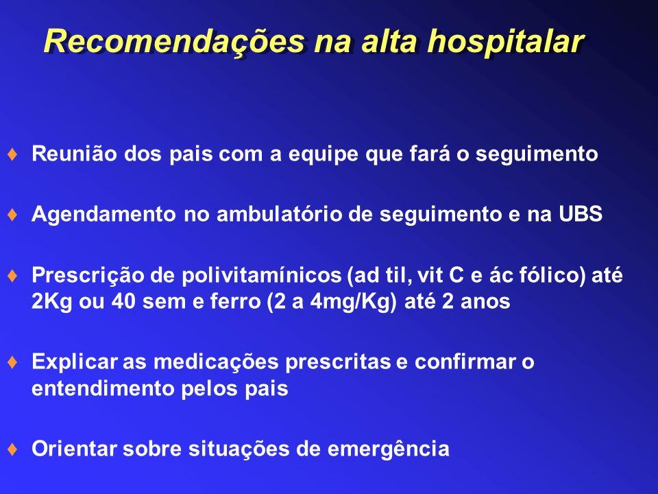 Recomendações na alta hospitalar
