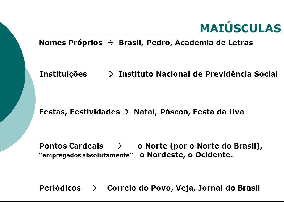 MAIÚSCULAS Nomes Próprios  Brasil, Pedro, Academia de Letras