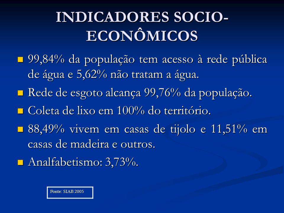 INDICADORES SOCIO-ECONÔMICOS